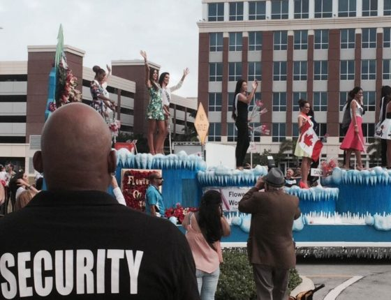Event security monitoring a parade